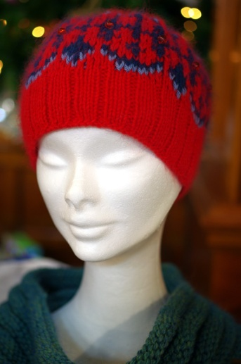 Red and blue hat with sparkles