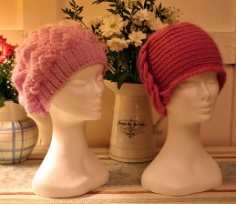 Cable and sequinned hats